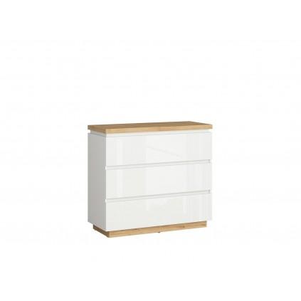 Kommode Pianeo 98x89 cm - Eikelook - Hvit høyglans