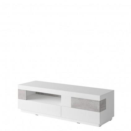 TV-benk Laredo 160 cm - Hvit Høyglans - Grå betong