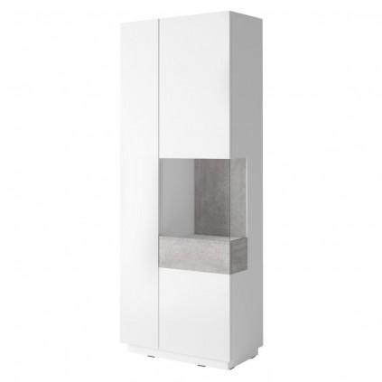 Vitrineskap Laredo 80x207 cm - Hvit Høyglans - Grå betong