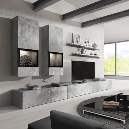 Tv-seksjon Ravenna 270 cm - Grå betong