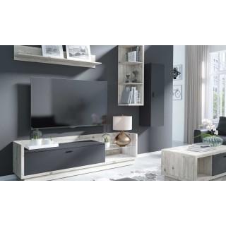 Tv-benk Manta 220 cm - Furu - Antrasitt