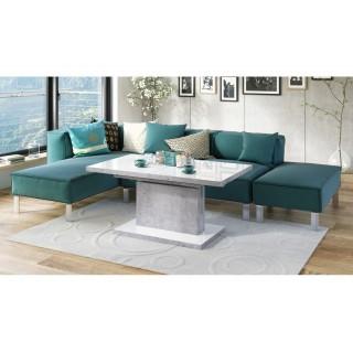 Høyt sofabord Alvan 120 cm - Hvit høyglans - Betonggrå