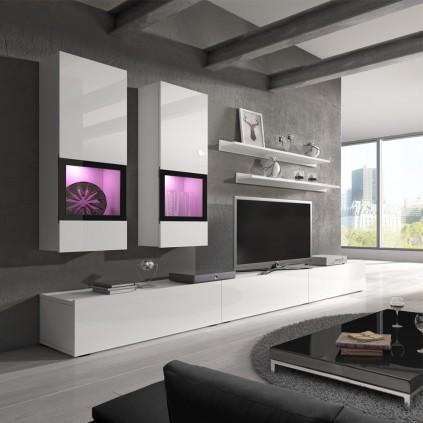 Tv-seksjon Ravenna 270 cm - Hvit høyglans