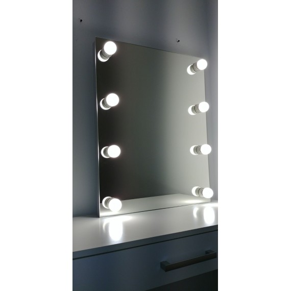 Sminkespeil Hollywood 55x70 - Vegghengt - Make up speil
