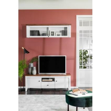 TV-benk Kelion 141x50 cm - Akasietre - Hvit glans