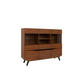 Mer omSkjenk Disona 162x130 cm - Brun - Svart - med glassdører