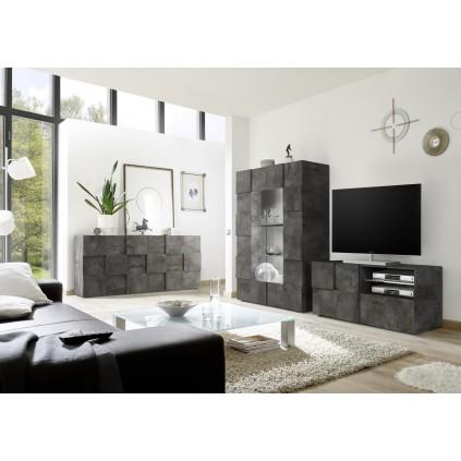 Tv-benk Brexton 121 cm - Mørk betong - Betonglook