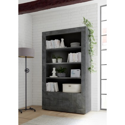 Reol - bokhylle Berra 110x191 cm - Mørk betong - Betonglook