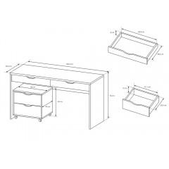 Skrivebord hvit skap med hjul | Møbler på nett | Møbel land.no