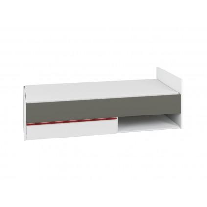 Seng Terrion 90x200 cm - Hvit - Grafitt - med skuff