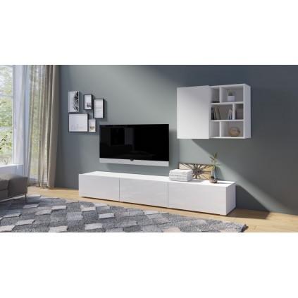 Tv-seksjon Steinwood - Hvit høyglans