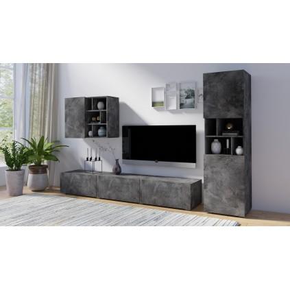 Tv-seksjon Steinwood - Steinlook - Mørk grå
