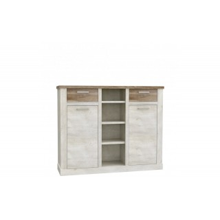 Highboard Duro - Furu - Eik - 4 hyller