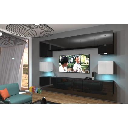 Tv-seksjon Next 242x207 cm - Svart - Hvit