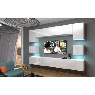 Mediamøbel Next 242x207 cm - Hvit