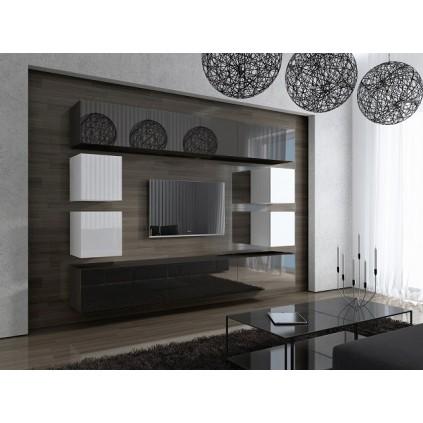 Tv-møbelsett Concept 249x183 cm - Svart - Hvit