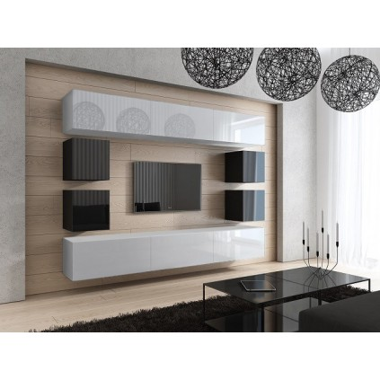 Tv-møbelsett Concept 249x183 cm - Hvit - Svart