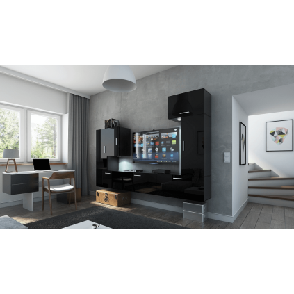 Tv-møbelsett Concept 249x191 cm - Svart