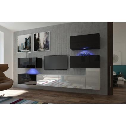 TV seksjon Next 286x182 cm - Hvit - Svart