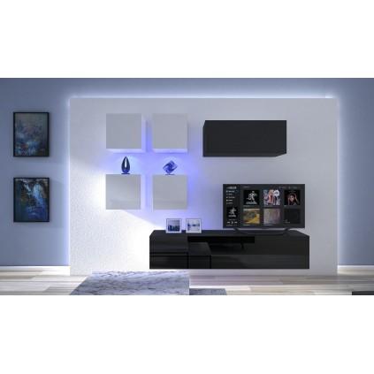 Tv-møbel Next 200x195 cm - Svart - Hvit