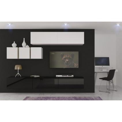 Tv-møbelsett Next 249x204 cm - Hvit - Svart