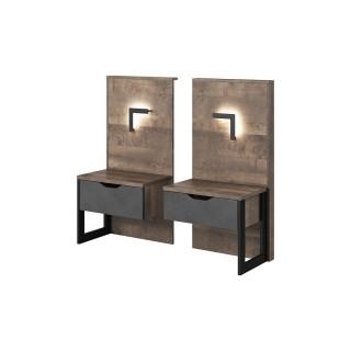 Nattbord Ardeno 52 cm - Trelook - Mørk - med belysning