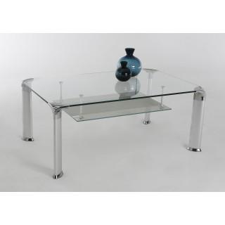 Sofabord David 110x43 cm - Med glassplate