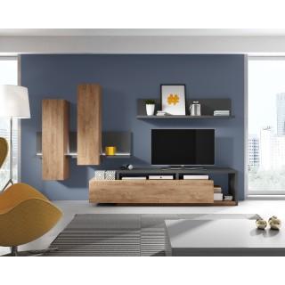 TV Seksjon Scaleo - Antrasitt - Eikelook - Moderne LED lys