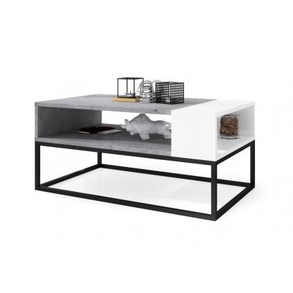 Sofabord Lenx 100x45 cm - Betong - Hvit matt