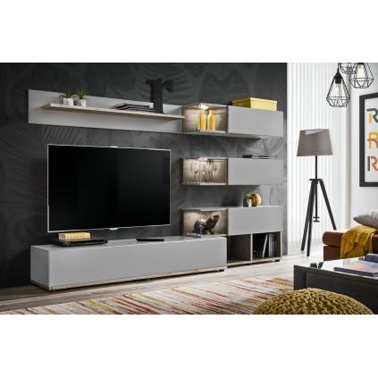 Tv-møbelsett Silk 240x150 cm - Antrasitt - Eikelook