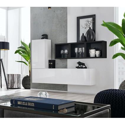 Møbelsett Blox 155x105 cm - Vegghengt - Hvit - Svart