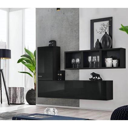 Møbelsett Blox 155x105 cm - Vegghengt - Svart