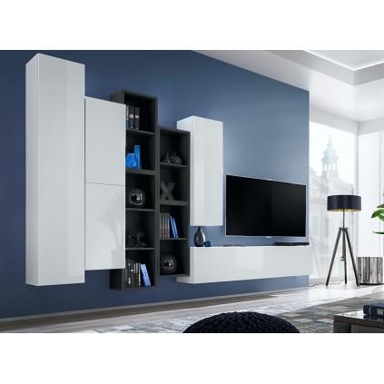 Tv-møbel Blox 315x180 cm - Vegghengt - Hvit - Svart