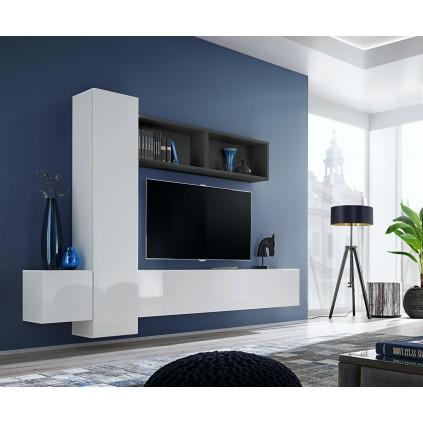 TV seksjon Blox 240x175 cm - Vegghengt - Hvit - Svart