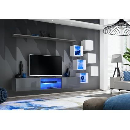 Tv-seksjon Switch 260 cm - Vegghengt - Grafitt