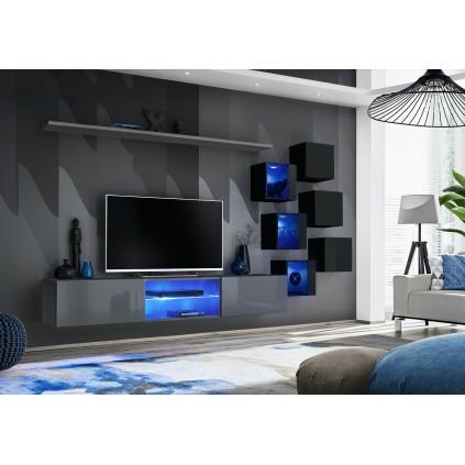 Tv-seksjon Switch 260 cm - Vegghengt - Grafitt - Svart