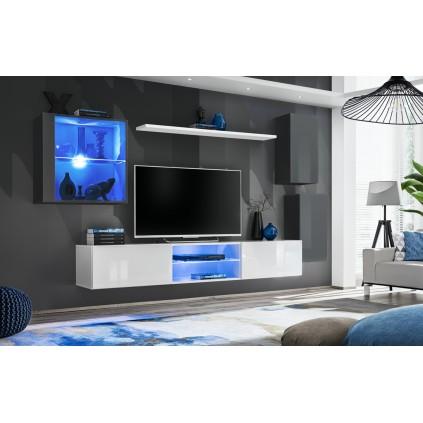 Møbelsett Switch 250 cm - Vegghengt - Grafitt - Hvit