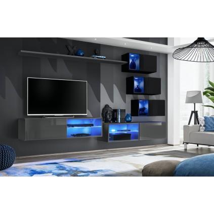 Tv-møbelsett Switch 260x170 cm - Grafitt - Svart