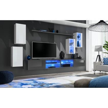 Seksjon Switch 280x140 cm - Hvit - Grafitt