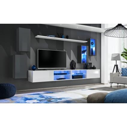 Seksjon Switch 280x140 cm - Grafitt - Hvit