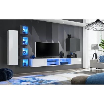 Seksjon Switch 320x150 cm - Vegghengt - Hvit - Grafitt