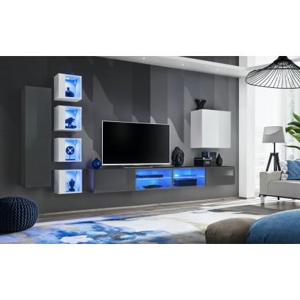 Seksjon Switch 320x150 cm - Vegghengt - Grafitt - Hvit