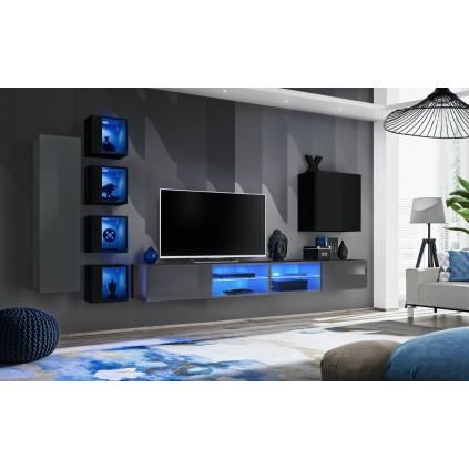 Seksjon Switch 320x150 cm - Vegghengt - Grafitt - Svart