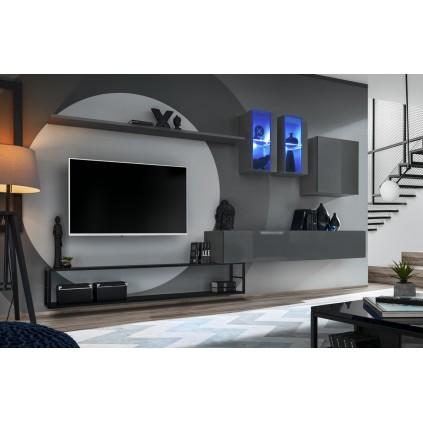 Tv-møbel Switch 330x180 cm - Grafitt - Svart