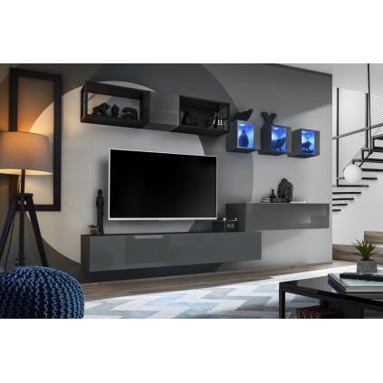 Tv-møbelsett Switch 280x170 cm - Vegghengt - Grafitt