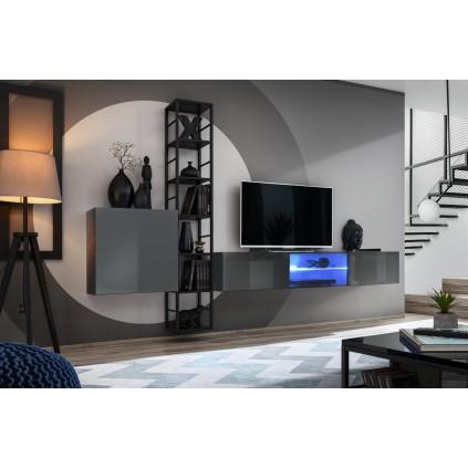 Tv-møbelsett Switch 270x176 cm - Vegghengt - Grafitt