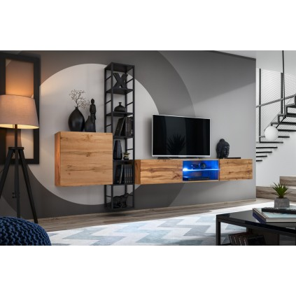 Tv-møbelsett Switch 270x176 cm - Vegghengt - Eikelook