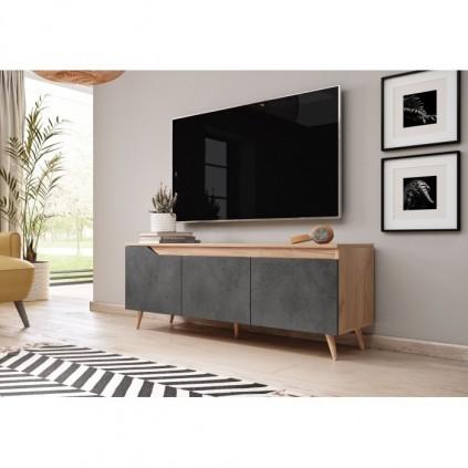TV-benk True 140 cm - Eikelook - Betong