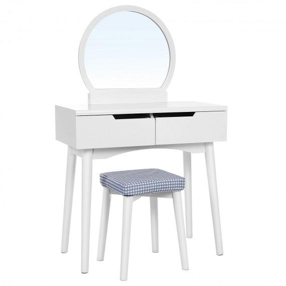 Toalettbord Adena 80 cm - Hvit - med speil og krakk