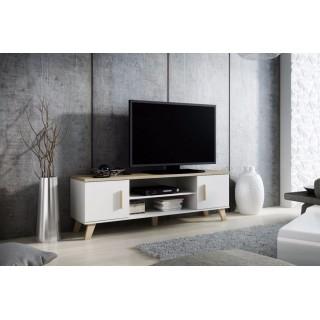 Evena TV-benk 160 cm - med ben - Hvit Matt
